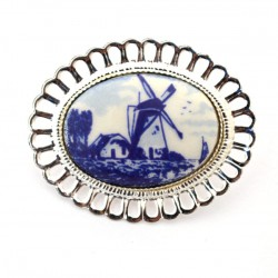 SILVER PLATED BROOCH FLOWER DELFT BLUE STONE WINDMILL