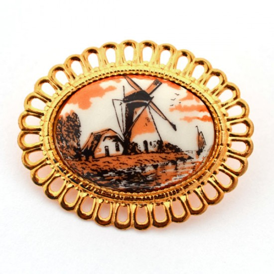 GOLD PLATED BROOCH FLOWER DELFT POLYCHROME STONE WINDMILL