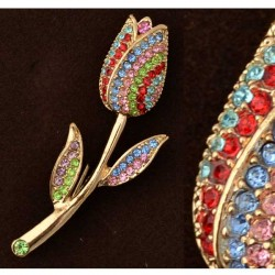 GOLD PLATED BROOCH TULIP COLOR RHINESTONE