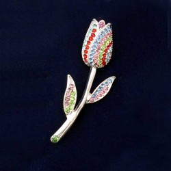 SILVER PLATED BROOCH TULIP RHINESTONE COLOR