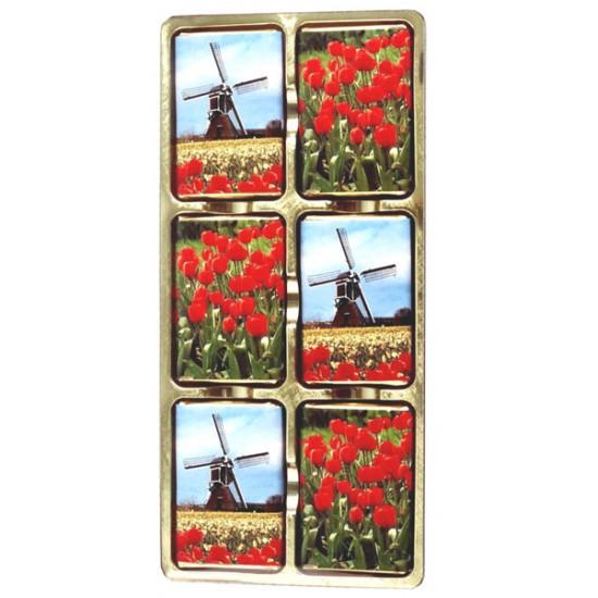 Chocolate blister strip tulips windmill