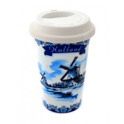 COFFEE TO GO THERMO MUG WINDMILL HOLLAND BLUE