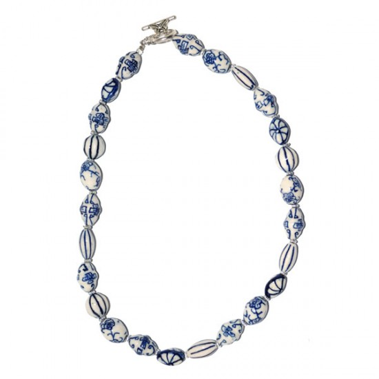 NECKLACE HAND PAINTED DELFT BLUE BEADS 50 CM