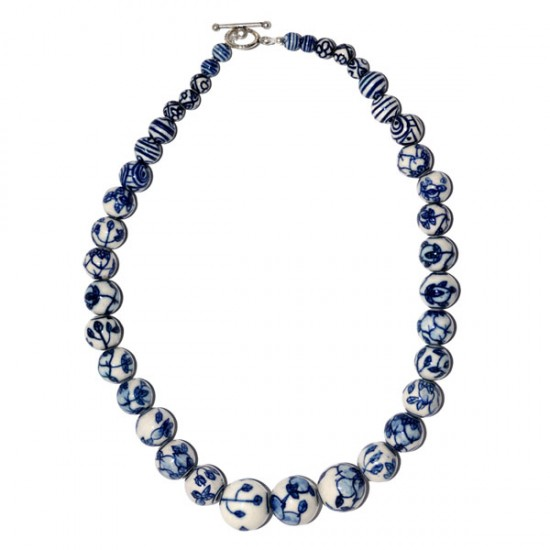 NECKLACE DELFT BLUE BEADS 50 CM
