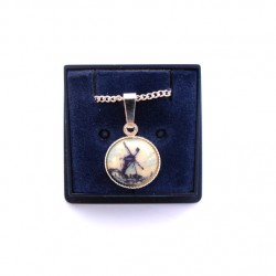 NECKLACE DELFT BLUE STONE ROUND WINDMILL