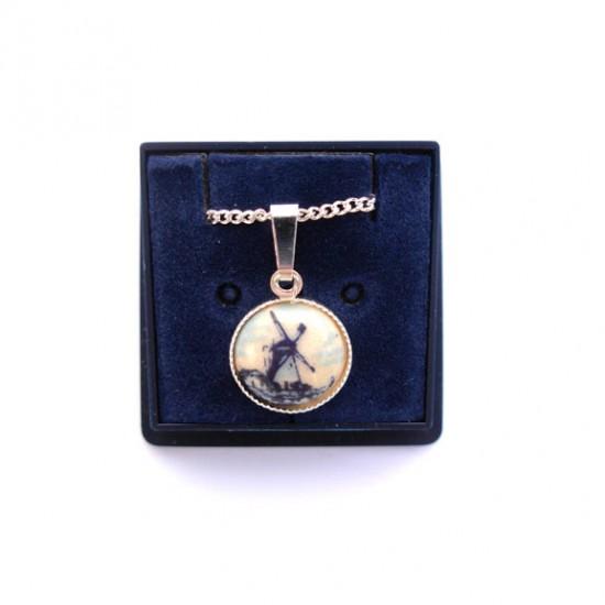 Halskette delfter blau stein rund mühle
