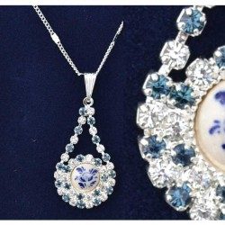 NECKLACE SILVER PLATED DROP RHINESTONE DELFT FLOWER
