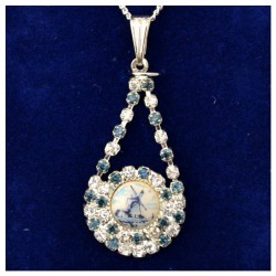 NECKLACE SILVER PLATED DROP RHINESTONE DELFT MILL