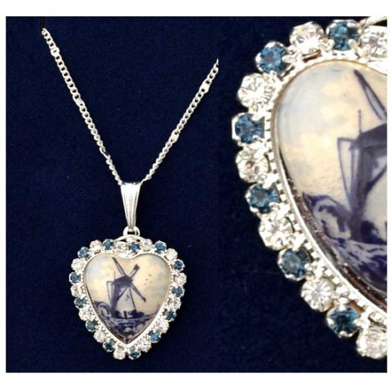NECKLACE SILVER PLATED DELFT HEART RHINESTONE