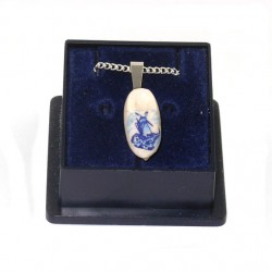 NECKLACE CLOGGIE SILVER PLATED DELFT BLUE 14 MM