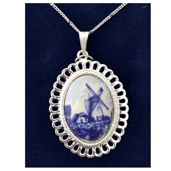 NECKLACE SILVER PLATED OVAL CUT EDGE DELFT BLUE MILL