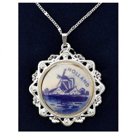 Necklace silver plated round cut edge delft blue mill