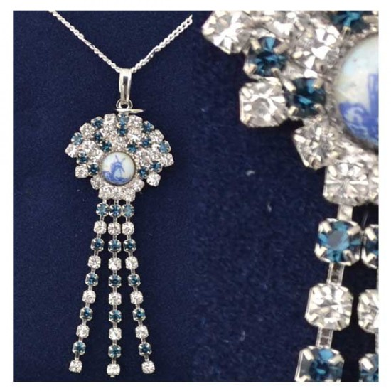 NECKLACE SILVER PLATED DELFT RHINESTONE 5 CM