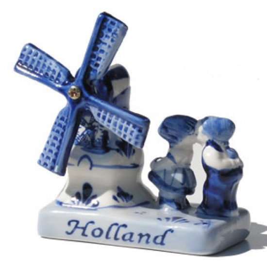 Combi holland delft blue windmill kissing couple