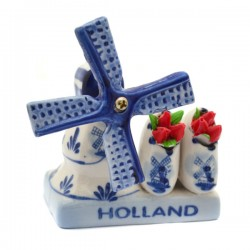 COMBI HOLLAND DELFT BLUE MILL CLOGS TULIPS