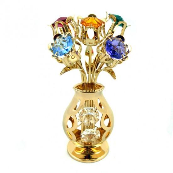 Crystocraft vergoldetes tulpe vase mit 9 multi color