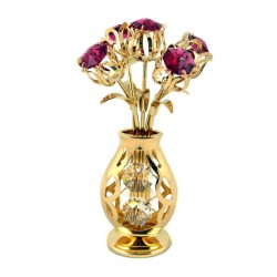 CRYSTOCRAFT GILDED TULPE VASE ROSE
