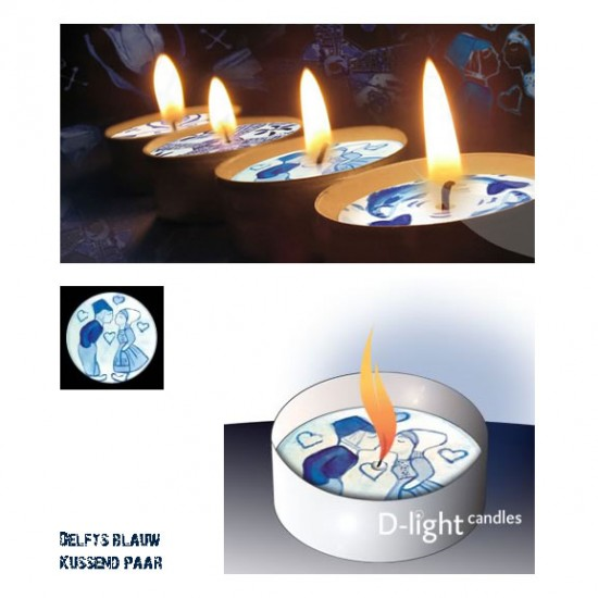 D-light tea lights with Delft blue kissing couple