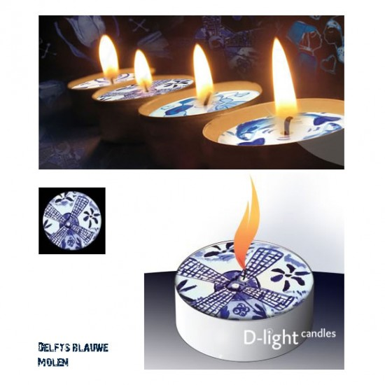 D-light tea lights with Delft blue mill