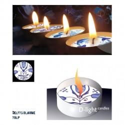D-light tea lights with Delft blue tulip