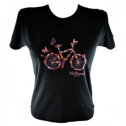 LADIES T-SHIRT SKINNY BICYCLE FOLOWERS BLACK