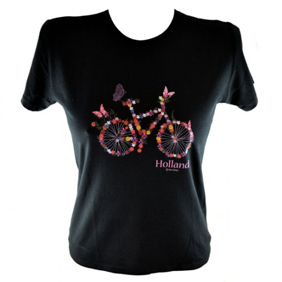 Ladies t-shirt skinny bicycle folowers black