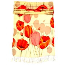 LADIES SCARF SPRING TULIPS BEIGE