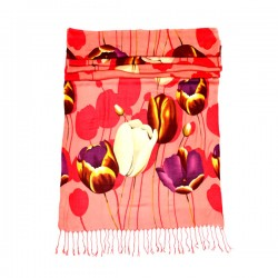 LADIES SCARF SPRING TULIPS PINK