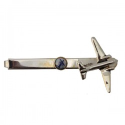 TIE CLIP SILVER PLATED AIRPLANE DELFT BLUE MILL 7 CM