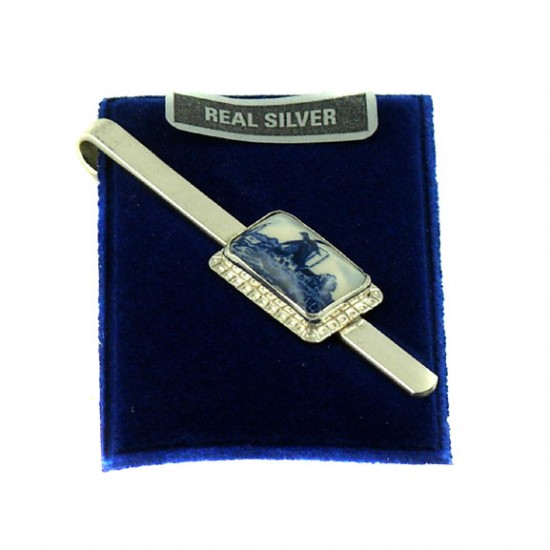 TIE CLIP SILVER MILL DELFT BLUE RECTANGLE