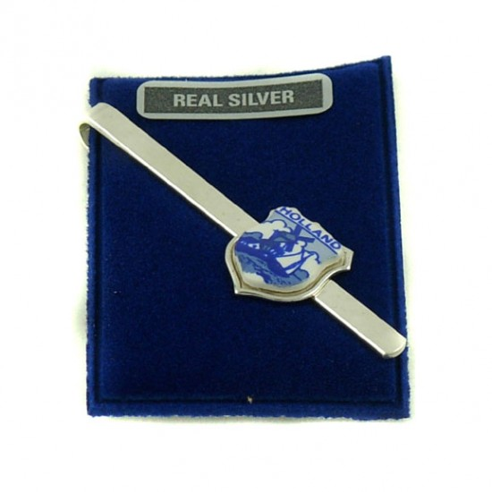 TIE CLIP SILVER HOLLAND BLUE
