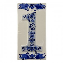 DELFT BLUE CERAMIC TILE HOUSE NUMBER ONE 1
