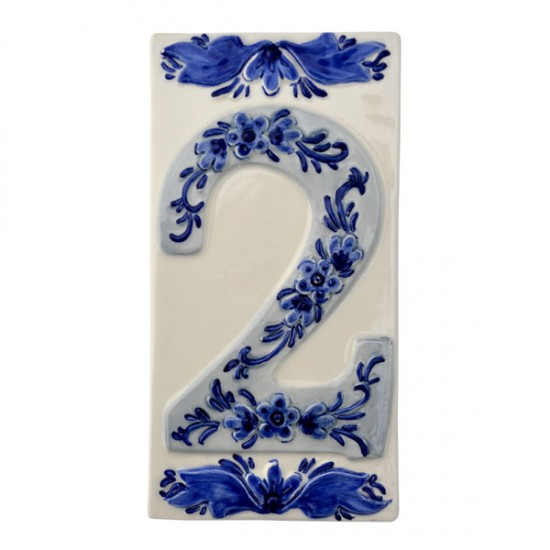 DELFT BLUE CERAMIC TILE HOUSE NUMBER TWO 2