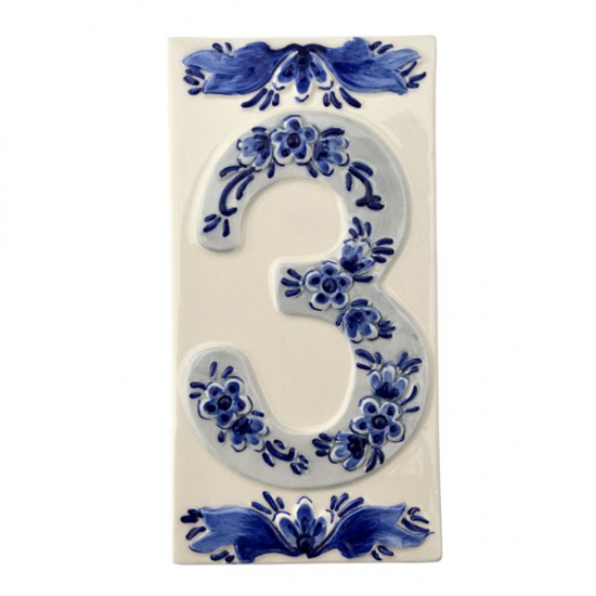 DELFT BLUE CERAMIC TILE HOUSE NUMBER THREE 3
