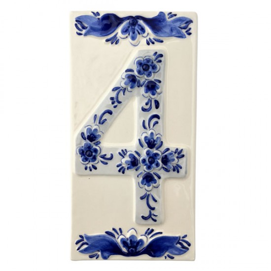DELFT BLUE CERAMIC TILE HOUSE NUMBER FOUR 4