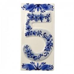 DELFT BLUE CERAMIC TILE HOUSE NUMBER FIVE 5