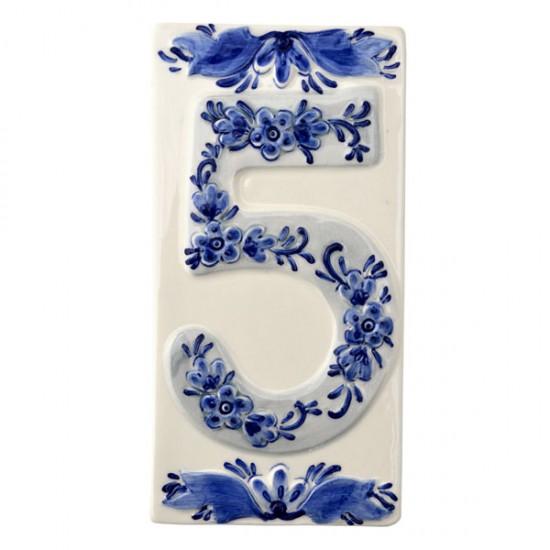 DELFT BLUE CERAMIC TILE HOUSE NUMBER FIVE 5