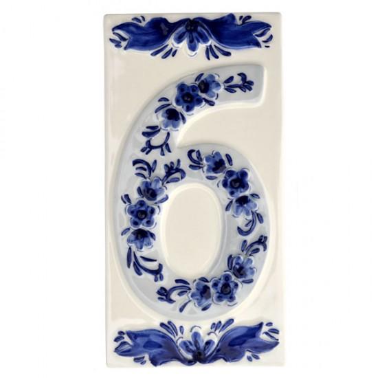 DELFT BLUE CERAMIC TILE HOUSE NUMBER SIX 6