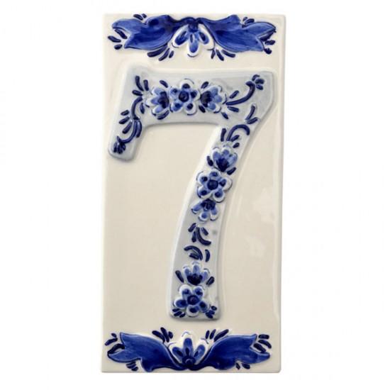 DELFT BLUE CERAMIC TILE HOUSE NUMBER SEVEN 7