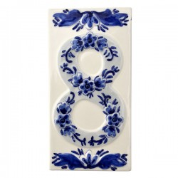 DELFT BLUE CERAMIC TILE HOUSE NUMBER EIGHT 8