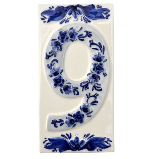 DELFT BLUE CERAMIC TILE HOUSE NUMBER NINE 9