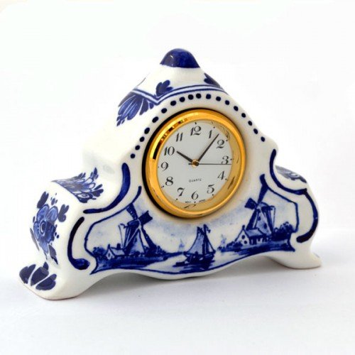Delft Blue Clock Landscape Standing Small Dutch Gifts