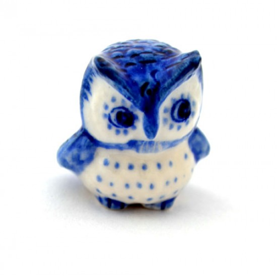 Delft blue miniature owl