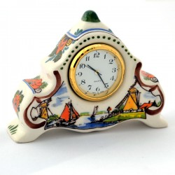 DELFT BLUE POLYCHROME CLOCK LANDSCAPE STANDING SMALL