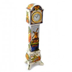 DELFT BLUE POLYCHROME CLOCK LANDSCAPE STANDING TALL