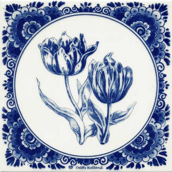 Delfts blauw tegel 2 tulpen