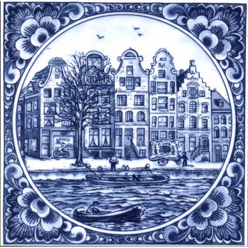 Delft Blue Tile Canal Houses Tiles Holland Souvenir