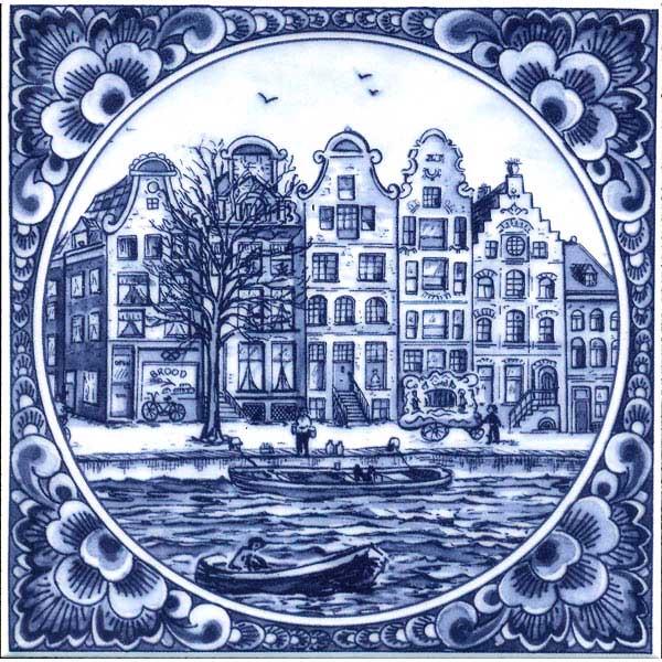Delft Blue Tile Canal Houses Tiles Holland Souvenir