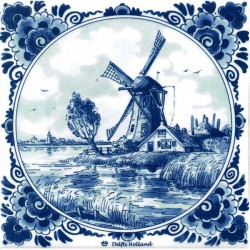 DELFT BLUE TILE WINDMILLS FARM POLLARD