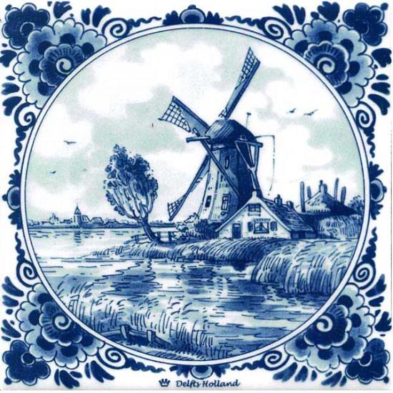 Delft blue tile windmills farm pollard